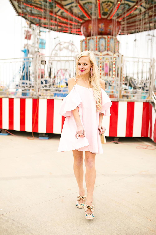 f194697b0223 ruffle sleeve cold shoulder dress ...