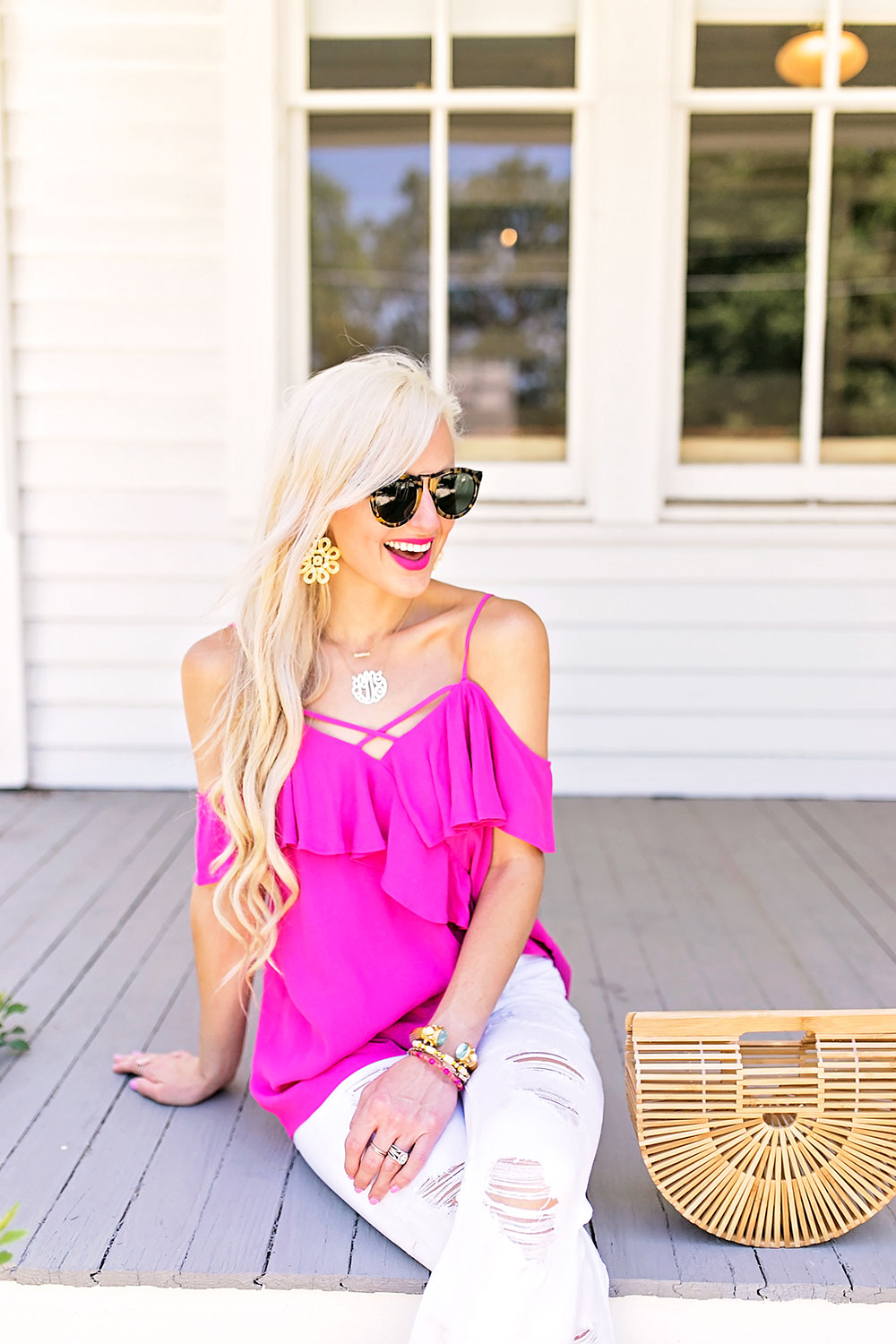 pink ruffle cold shoulder top