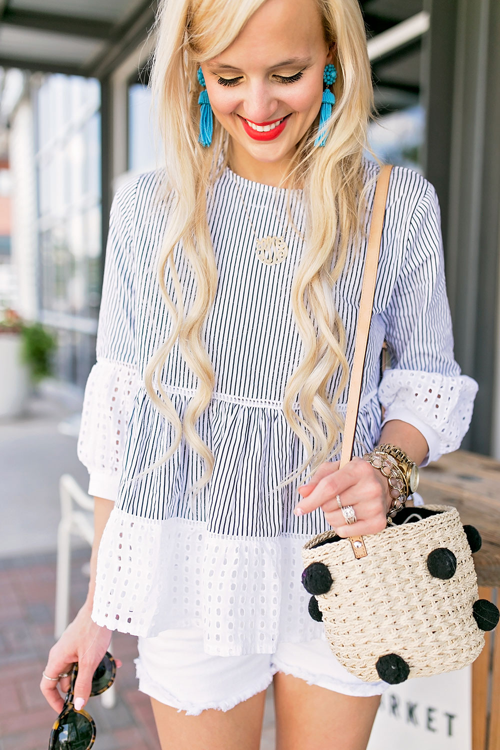 white eyelet striped top