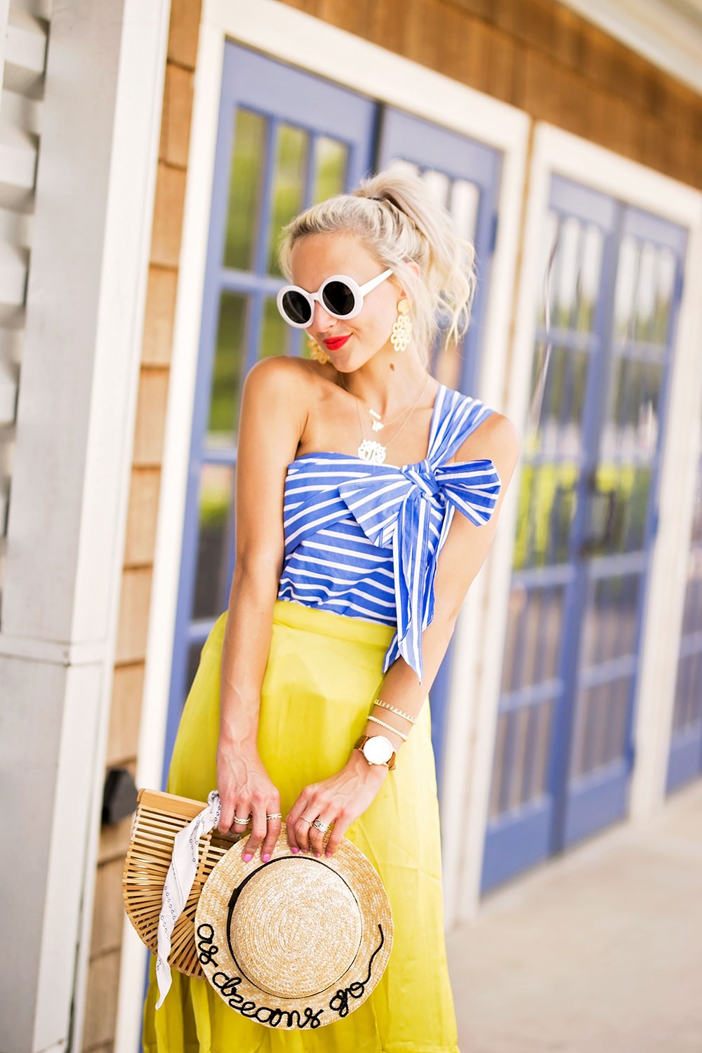 blue one shoulder bow top