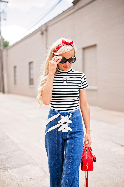 lace up crop jeans