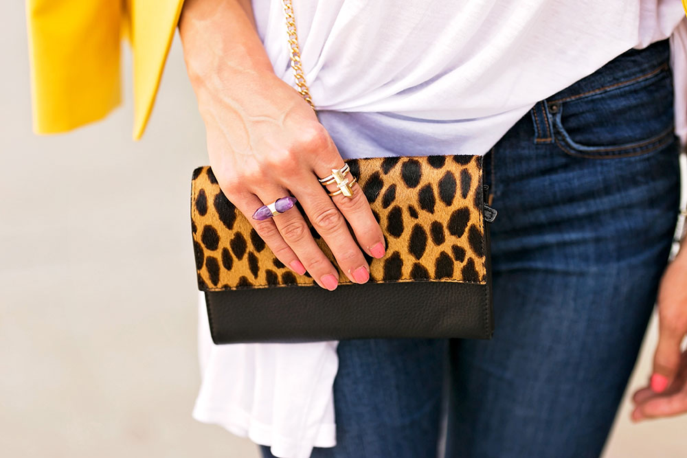 leopard foldover clutch purse