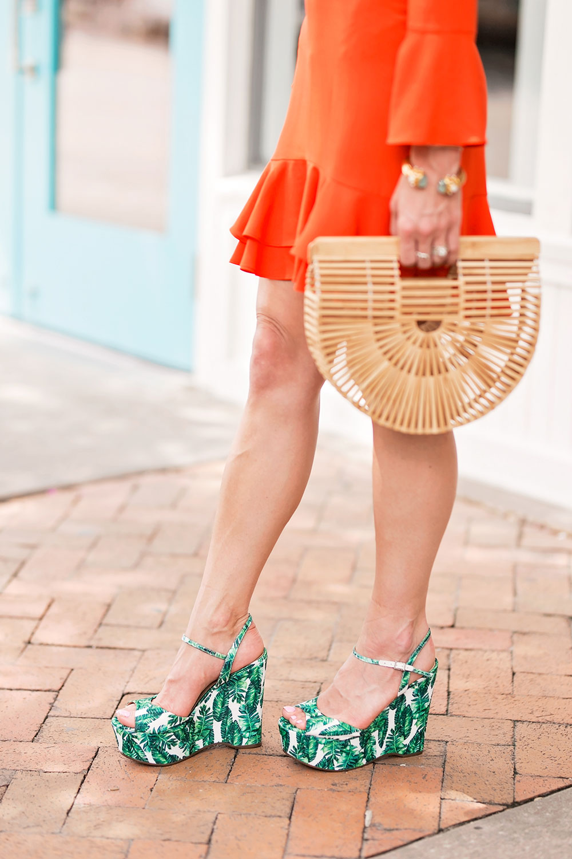palm print wedge sandals
