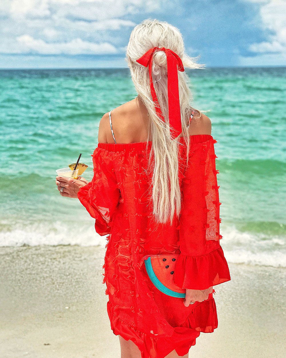 red off shoulder swim coverup