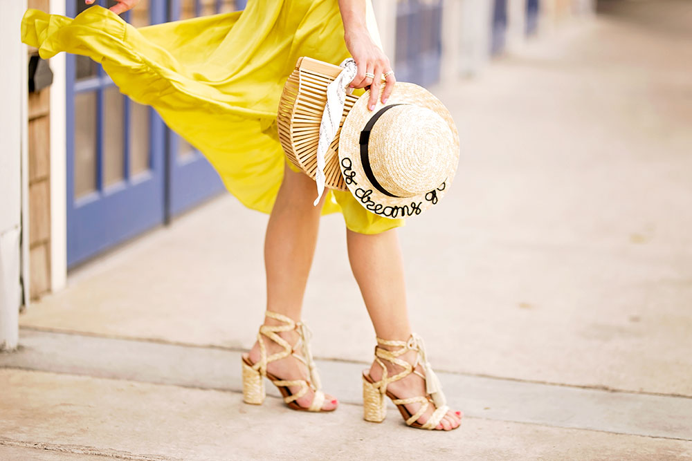 yellow ruffled skirt