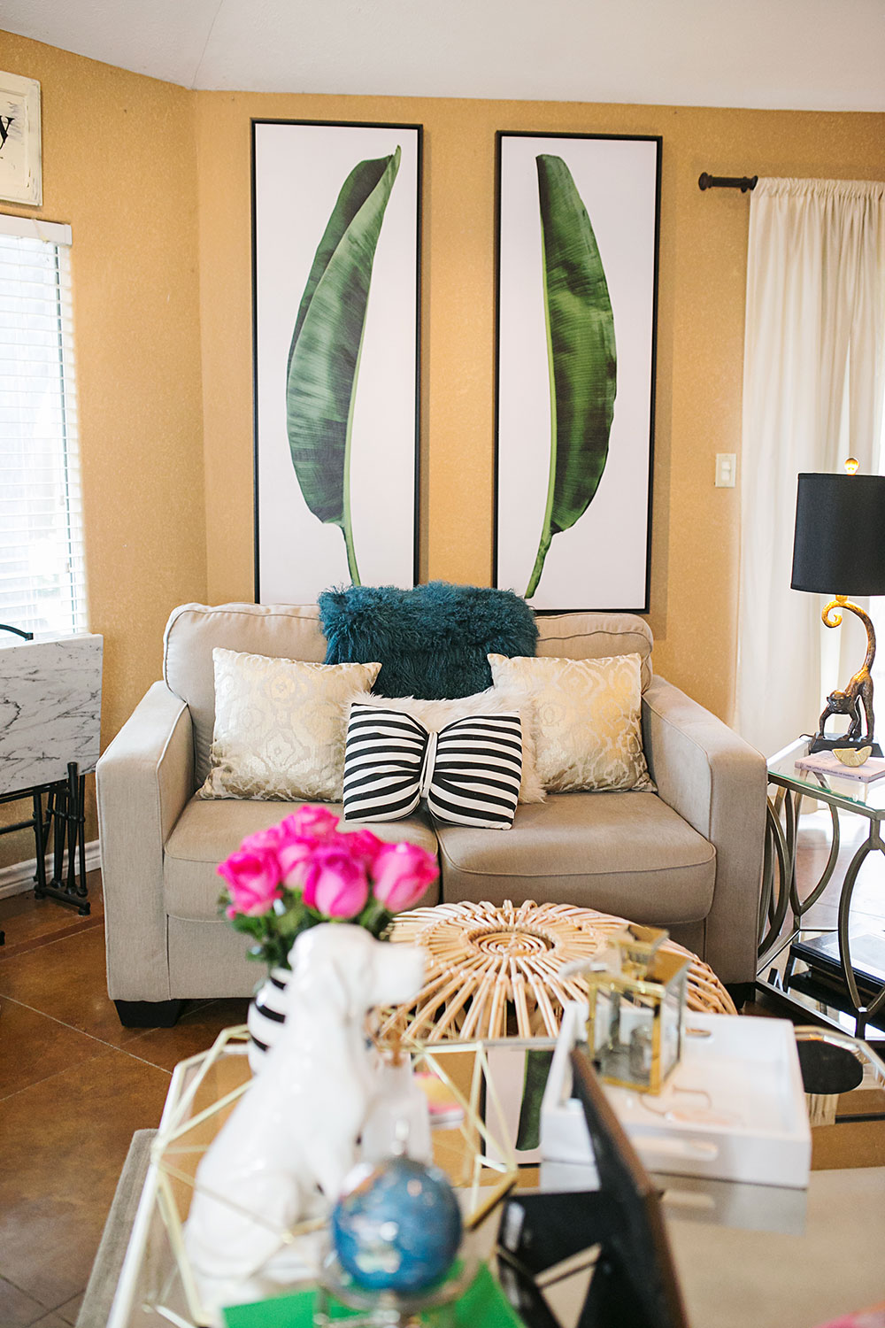 terrific tropical living room | Our Tropical Chic Living Room Makeover | Vandi Fair