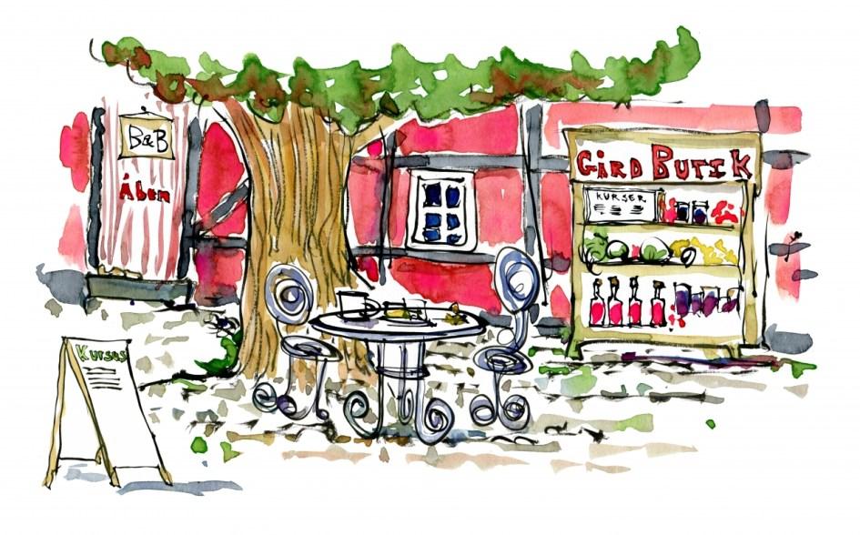 Tegning af lokal gårdbutik og cafe