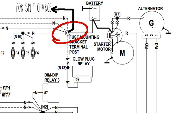 alternator split charge connection?resize=600%2C386 split charge wiring diagram wiring diagram,Split 12v Charging System Wiring Diagrams