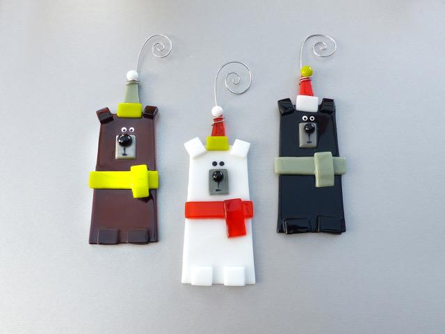 Violet Finvers glass ornaments three bears design