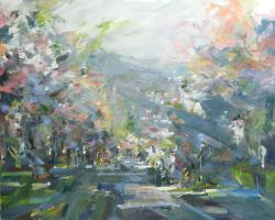 Landscape painting on canvas by Leanne M Christie New Westminister Van Dop Gallery Canadian Artist