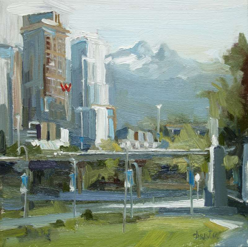 Landscape painting on canvas by Canadian Artist Leanne M Christie. Oil painting available to purchase locally in New Westminster, BC at Van Dop Art Gallery