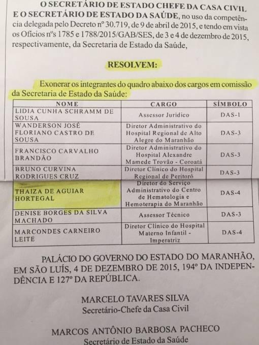 Ato de exoneração (Fonte-Diário Oficial do Estado)