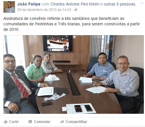 Sem prestigio, João Felipe, pega carona.