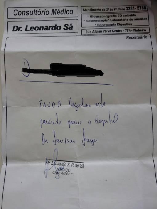 """Pedido do Dr. mutirão para d Hospital Antenor Abreu do município """"regular"""" paciente para o hospital Dr. Jackson Lago."""