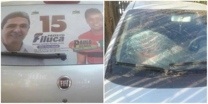 Veículo do candidato a vereador, Paulo Ricardo, sofreu ataque na Av: Santa Maria em Pacas.