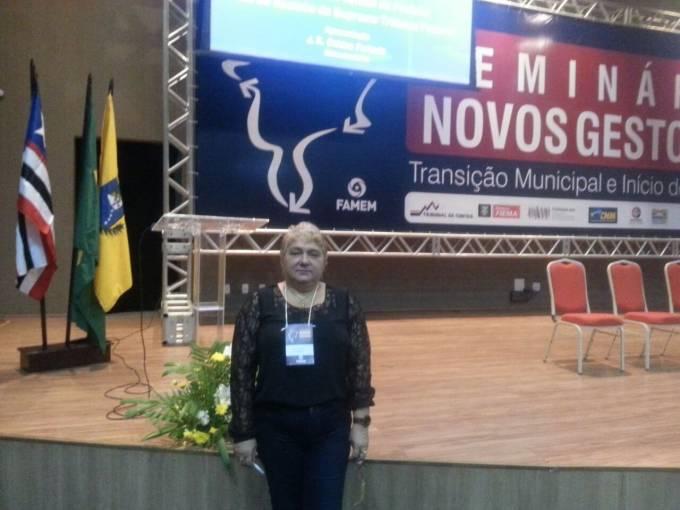 """Margarete no Seminário """"Novos Gestores – Transição Municipal e Início de Governo"""", promovido pela Federação dos Municípios do Estado do Maranhão (FAMEM)."""