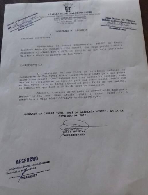 Indicação do vereador, Oziel em 14 de setembro de 2015 comprova o pedido do vereador.