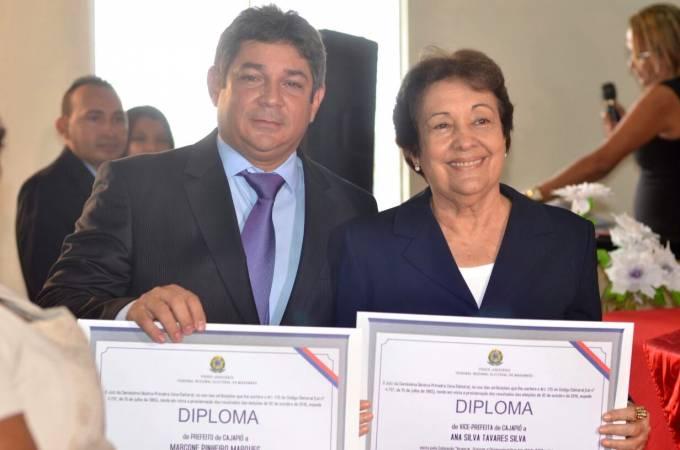 Prefeito, Dr. Marcone Pinheiro Marques (PP) e a vice-prefeita, Ana Silva Tavares (PSDB).