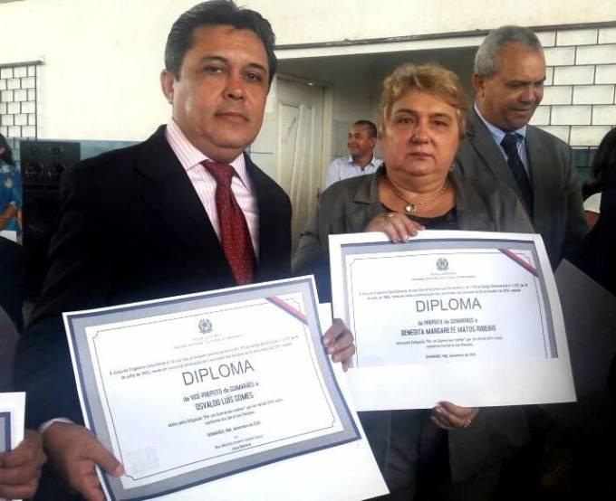 Margarete Ribeiro (PV), e Osvaldo Gomes (PDT), prefeita e vice de Guimarães, diplomados.