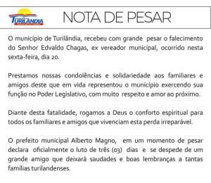 Prefeitura de Turilândia emite Nota de Pesar pelo falecimento do Ex-vereador Edvaldo Chagas