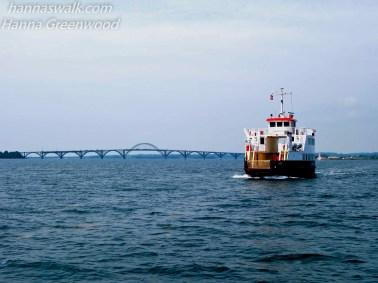 Udsigt mod Dronning Alexandrine Broen og Færgen Ulvsund