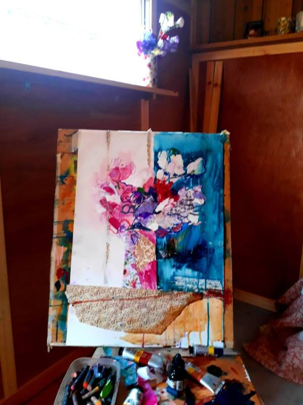 Mixed media flowers by Aine Divine