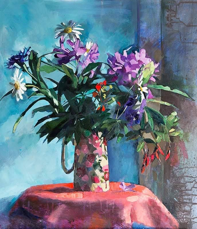 Flowers in a floral jug. Painting by Aine Divine.