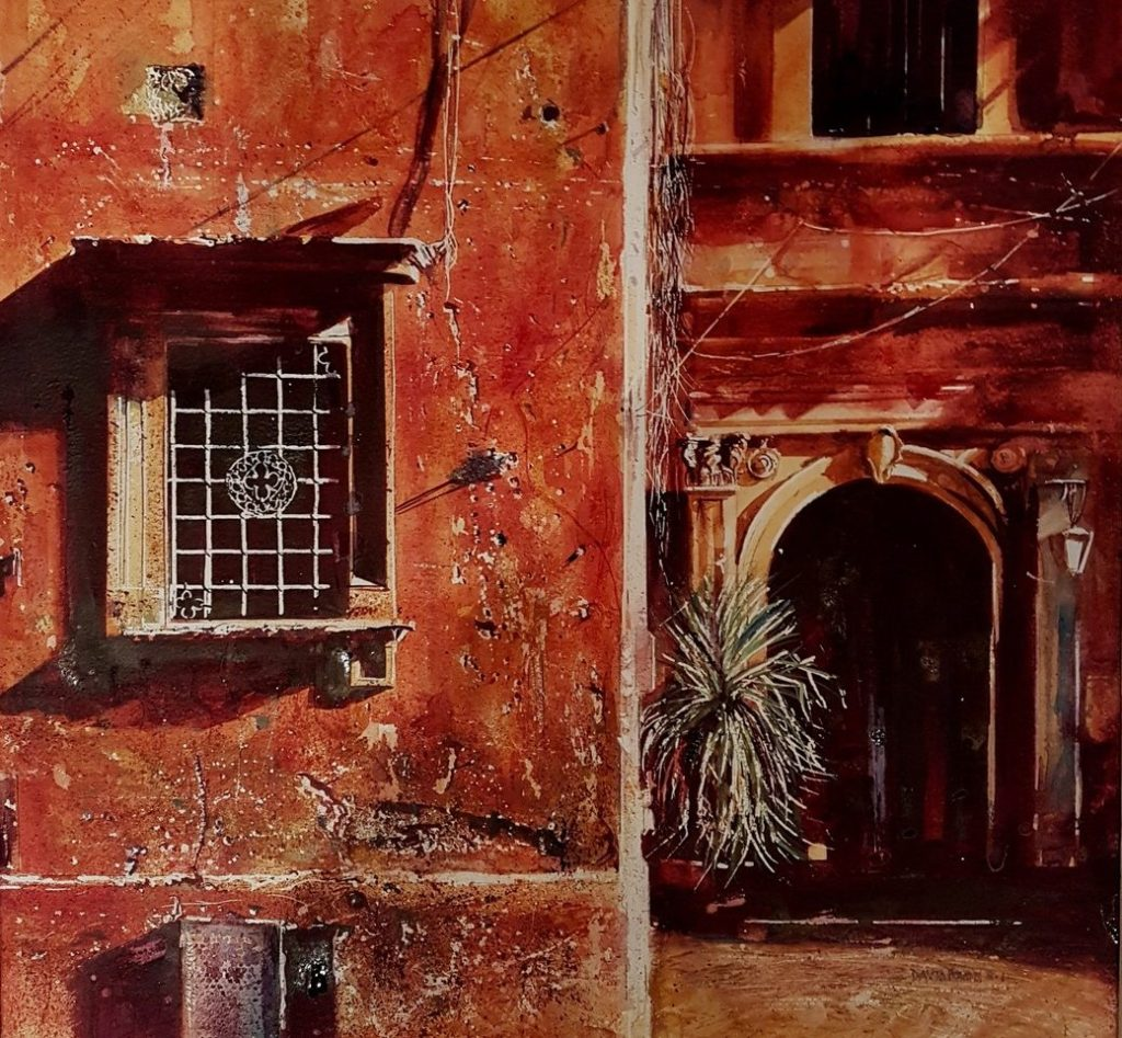 Roman Holiday. Watercolour painting by David Poxon RI