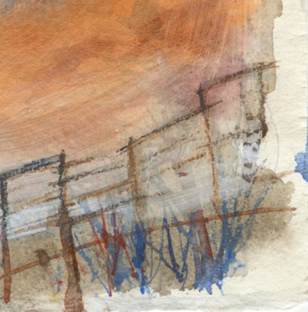 Beyond and Beyond by Vandy Massey. 21 x 15 cm. Watercolour on hand made khadi paper. Detail 2
