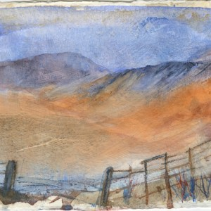 Beyond and Beyond by Vandy Massey. 21 x 15 cm. Watercolour on hand made khadi paper.