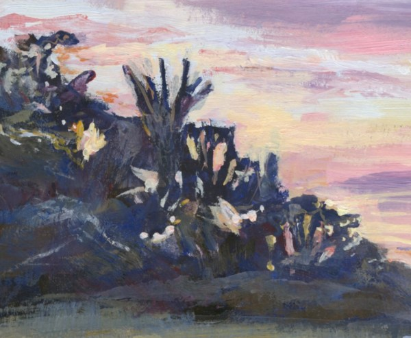 Memories Flood The Sand by Vandy Massey. 23 x 31 cm. Oil on Board. Trees