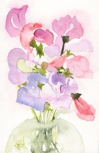 Sweet pea watercolour painting