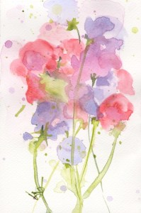 Summer Sweetpeas - a watercolour painting