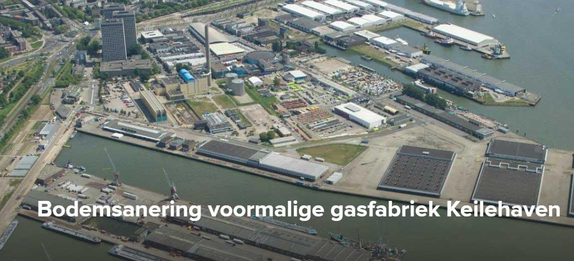 De bodem van de voormalige gasfabriek Keilehaven in het Merwe-Vierhavensgebied (M4H Rotterdam) wordt grondig gesaneerd.