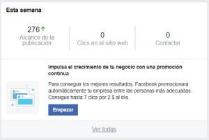 Botón para promocionar la página en Facebook Ads