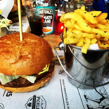 Burgers and fries in Rotterdam.