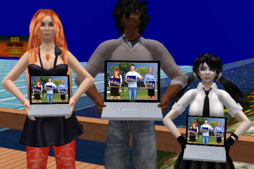 3 avatars in the virtual world of Second Life hold laptop computers. On their screens is an image of 3 RL humans holding laptops. And if you look carefully at the human laptops, on their screens are the 3 avatars. And on and on!
