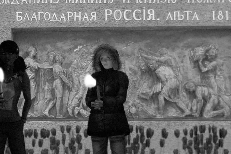 Black-and-white photograph of avatars holding a candlelight vigil in support of Nadya Tolokonnikova's hunger strike