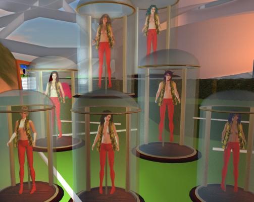 Vanessa Blaylock Company avatars suspended from specimen hooks inside bell jars.