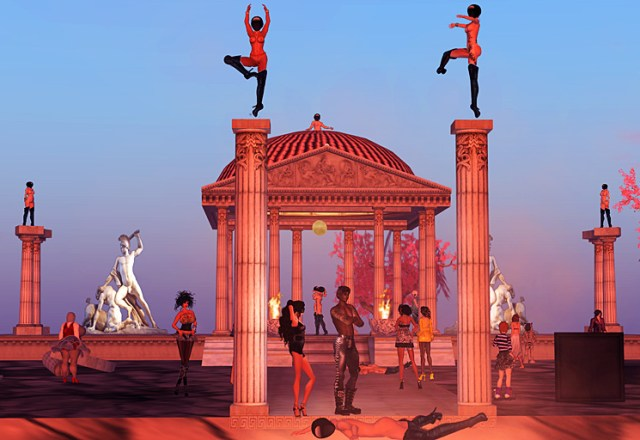 Masked avatars perform a tableaux vivant at an Ancient Greek temple