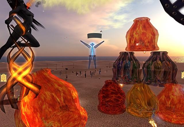 Wide view of the playa at Burning Man / Burning Life