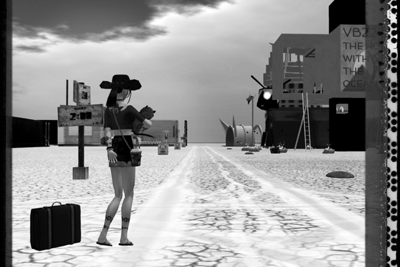 black-and-white polaroid photograph of Vanessa Blaylock holding a baby and with a suitcase by her side as they stand next to dirt tracks in a dusty road on the playa at virtual Black Rock City