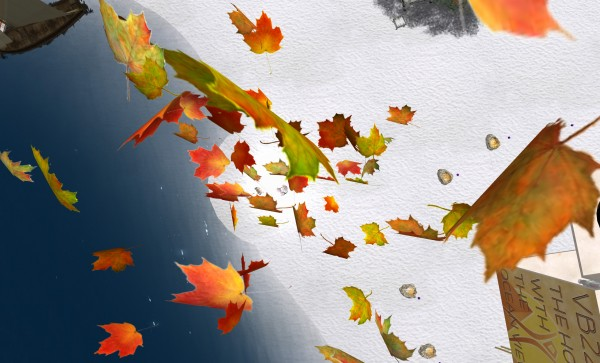 a pile of maple leaves floating upward in the sky