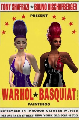 """Artists Betty Tureaud and Vanessa Blaylock on the famous """"Warhol - Basquiat"""" boxing poster"""