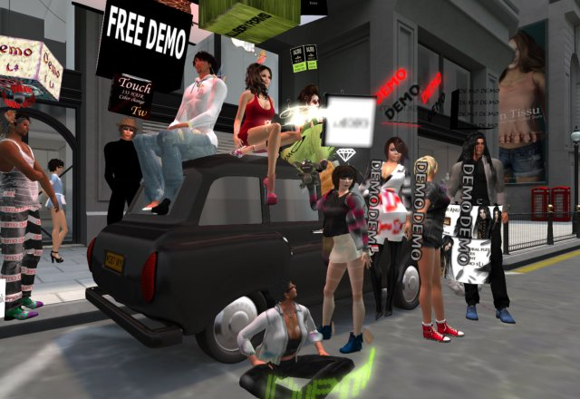 """avatars dressed in wild and eclectic """"demo"""" clothing pose around a car in the upscale Mayfair Fashion District"""