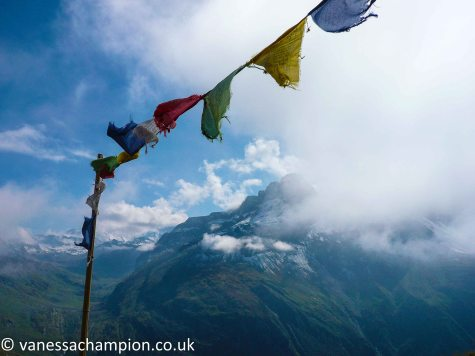 French Alps, prayer flags, summer walking, trekking