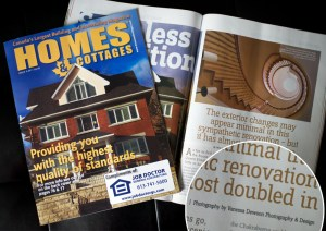Photography feature on cover and article in Homes & Cottages Magazine.