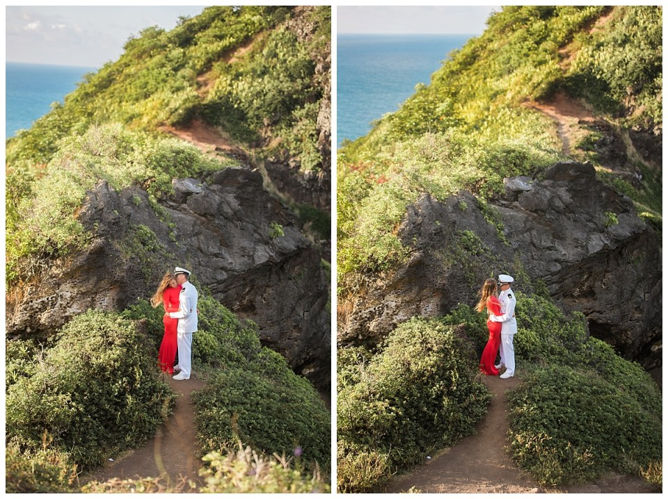 hawaii engagement session crouching lion