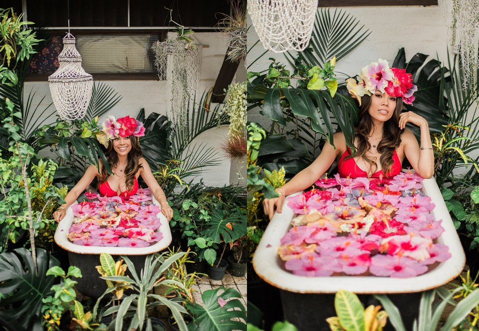 Floral Bath Tub Photo Shoot Hawaii Photographer Vanessa Hicks Photography