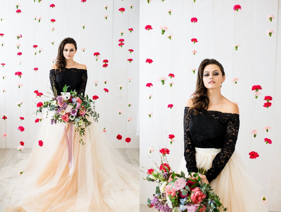 Gorgeous Floral Backdrop Bridal Session